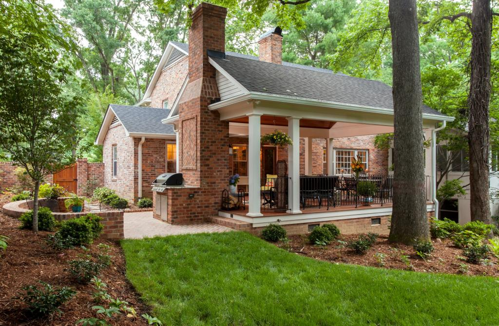 Beautiful Forest Drive Covered Porch